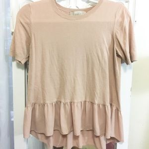 LOFT Tops - Like new pale pink ruffle shirt!